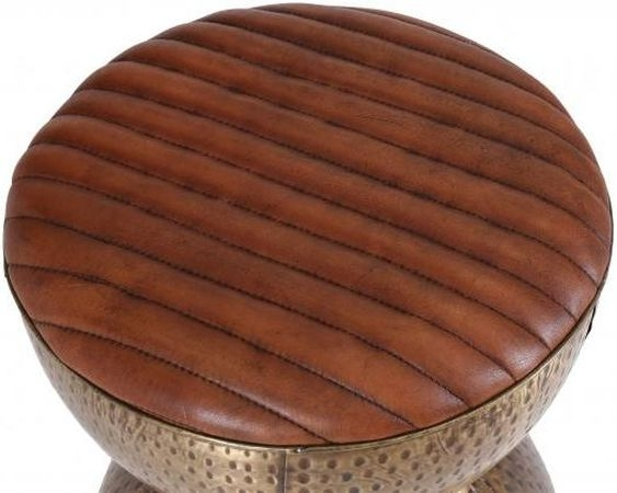 Drum Style Stool with Leather Pad