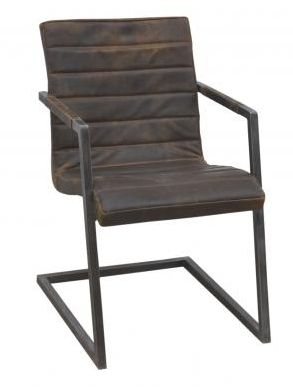 Ribbed Brushed Buffalo Leather Dining Chair with Frame