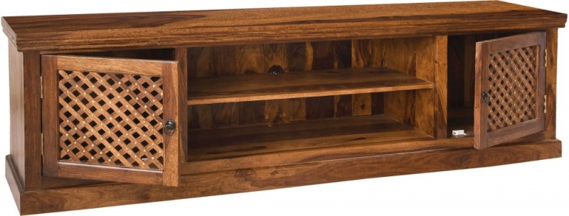 Urban Deco Wood Jali Sheesham 2 Door TV Unit