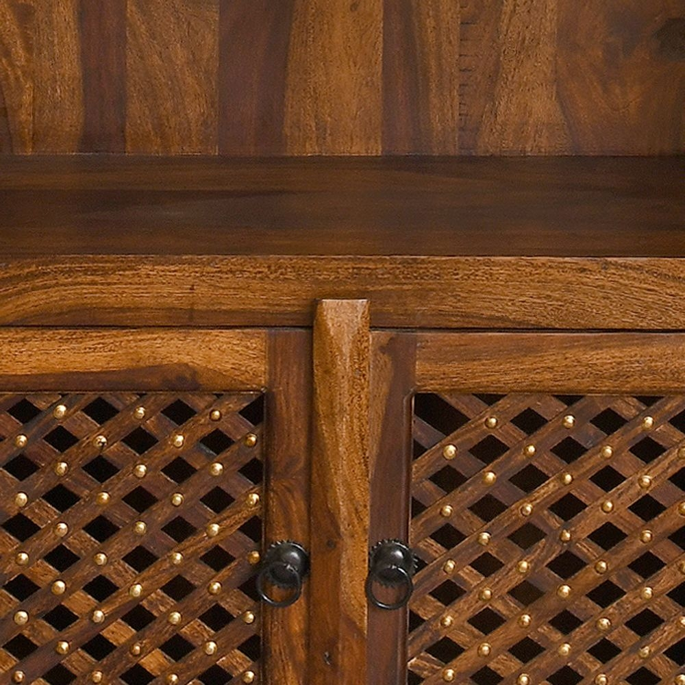 Urban Deco Wood Jali Sheesham 2 Door Bookcase