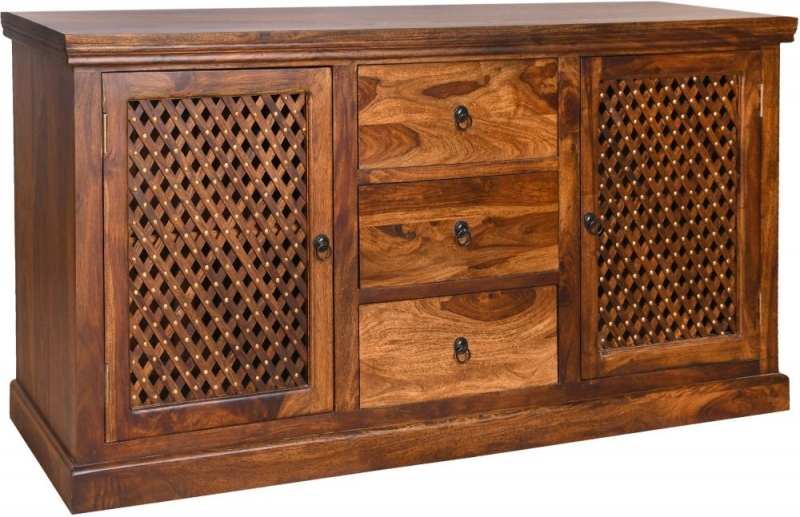 Urban Deco Wood Jali Sheesham Large Sideboard