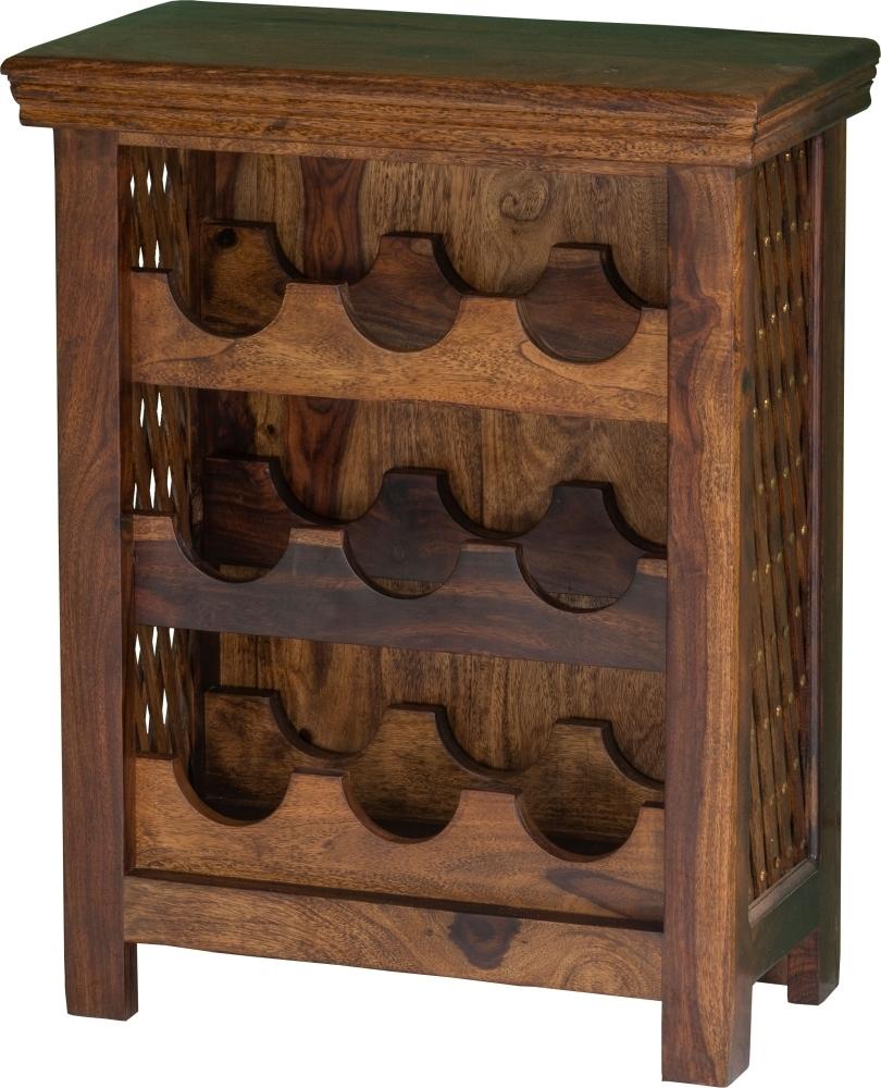 Jali Sheesham Bottle Rack / 9 Bottles