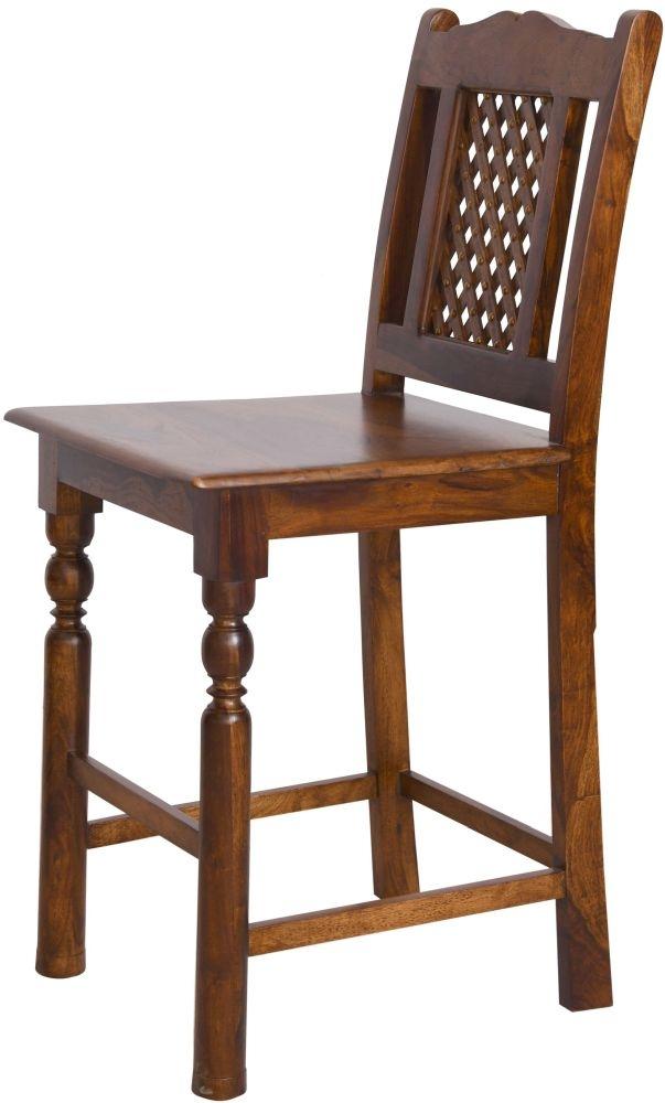 Urban Deco Wood Jali Sheesham Bar Chair