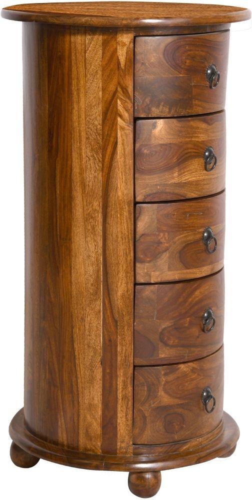 Urban Deco Wood Jali Sheesham 5 Drawer Drum Chest