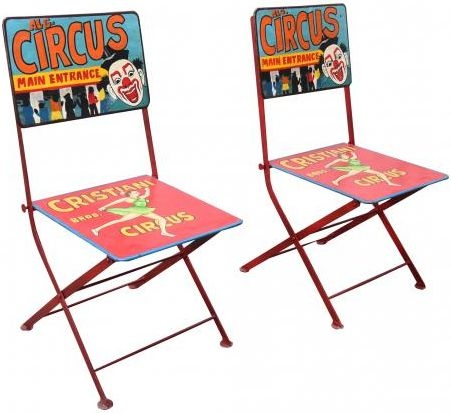 Hand Painted Iron Circus Folding Chair (Pair)