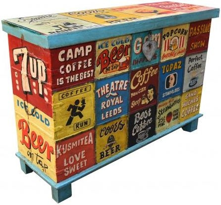 Hand Painted Vintage Ad Narrow Trunk