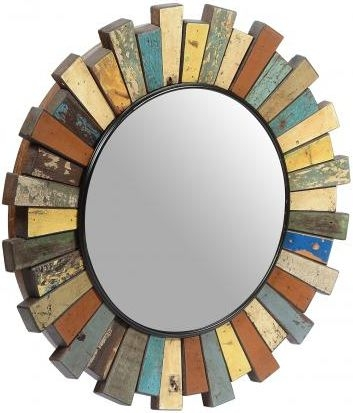 Round Reclaim Wooden Mirror
