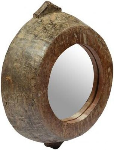 Old Wooden Large Bowl Mirror