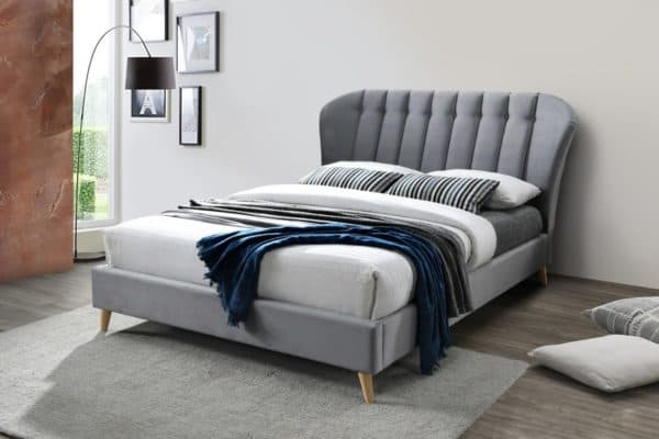 Birlea Elm Grey Velvet Fabric Bed