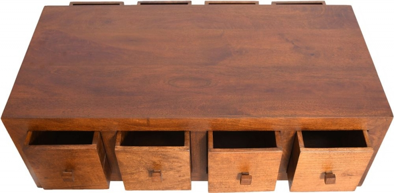 Urban Deco Dakota Dark Mango Wood 8 Drawer Storage Coffee Table