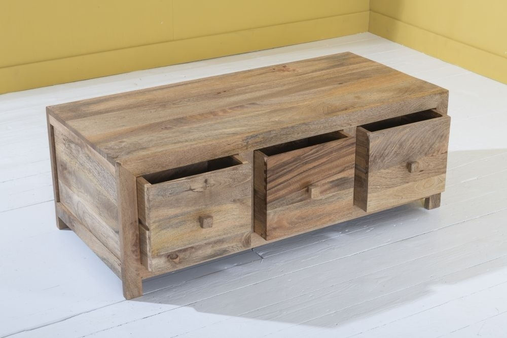 Dakota Indian Mango Wood 6 Drawer Storage Coffee Table - Light
