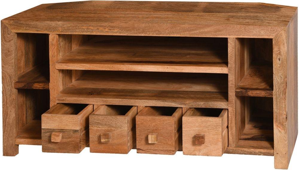 Dakota Indian Mango Wood 110cm Corner TV Unit - Light