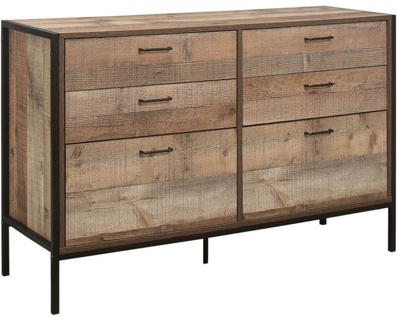 Birlea Urban Rustic Wide Chest with Metal Frame