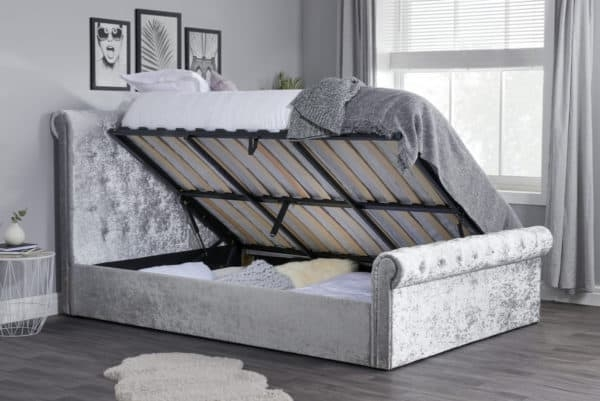 Sienna Steel Crushed Velvet Fabric Side Ottoman Bed
