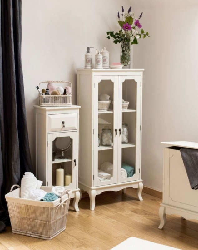 Clearance Half Price - Marcella Ivory 2 Door Glass Bathroom Cabinet - New - FS353