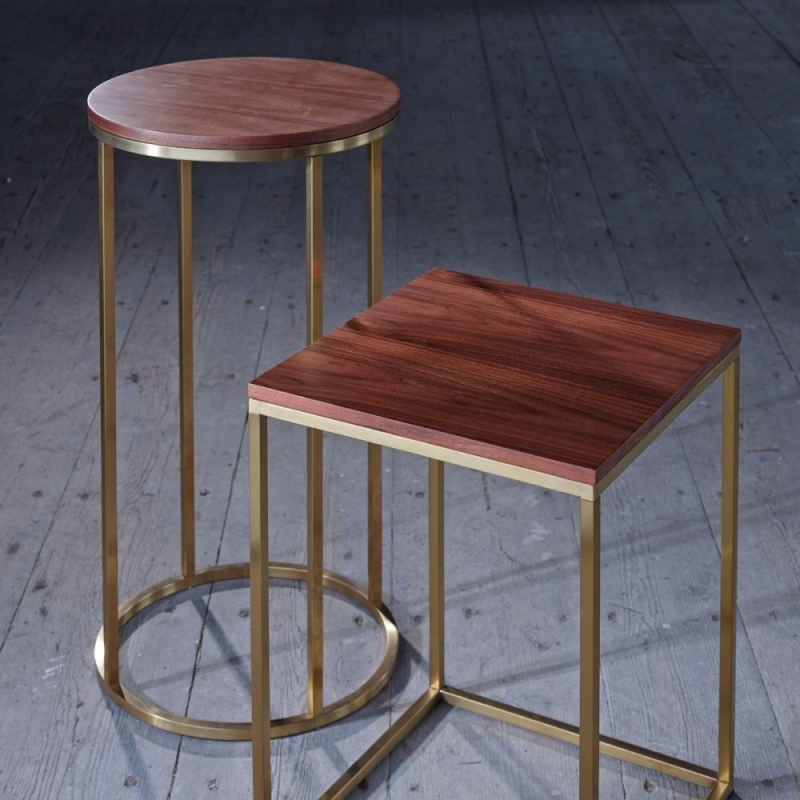 Westminster Walnut and Brass Round Lamp Stand