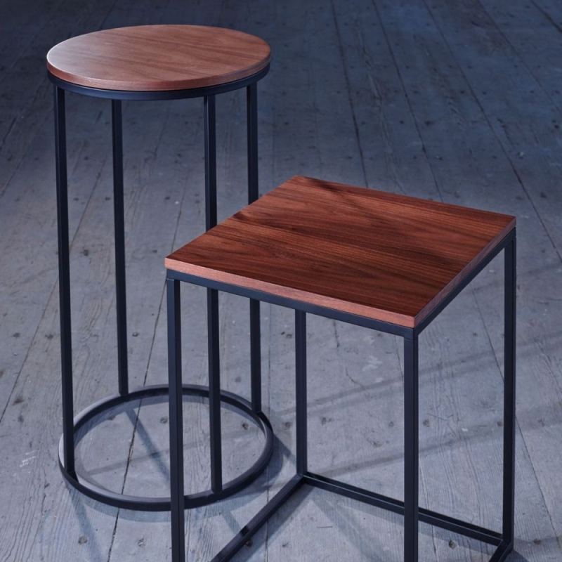 Westminster Walnut and Black Round Lamp Stand