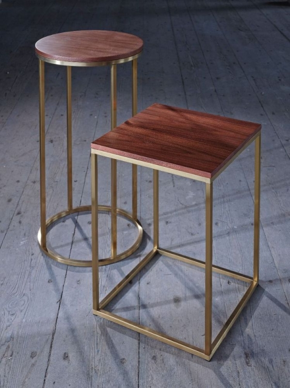 Westminster Walnut and Brass Round Side Table