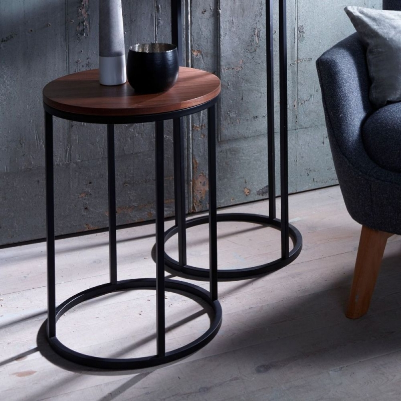 Westminster Walnut and Black Round Side Table