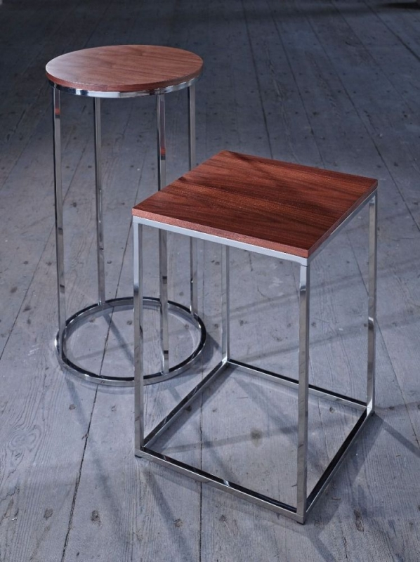 Westminster Walnut and Stainless Steel Round Side Table