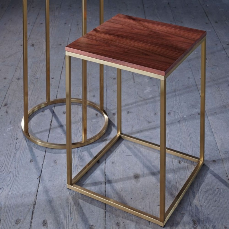 Westminster Walnut and Brass Square Side Table