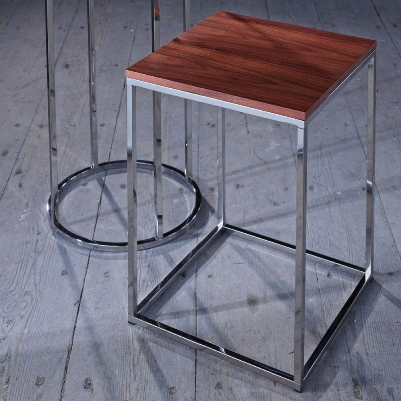 Westminster Walnut and Stainless Steel Square Side Table