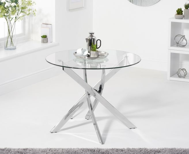 Mark Harris Daytona Glass and Chrome Round Dining Table