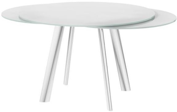 Omega White Swivel Extending Dining Table