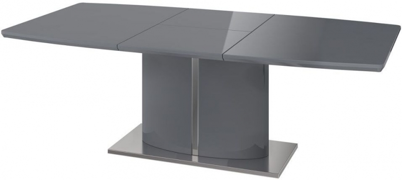Flavio Grey High Gloss Butterfly Extending Dining Table