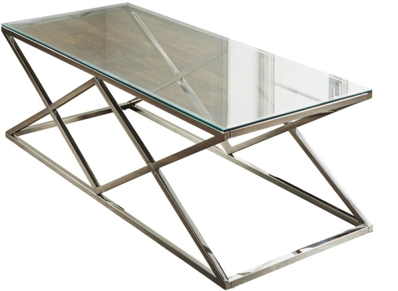 Pyramid Silver Chrome and Glass Coffee Table
