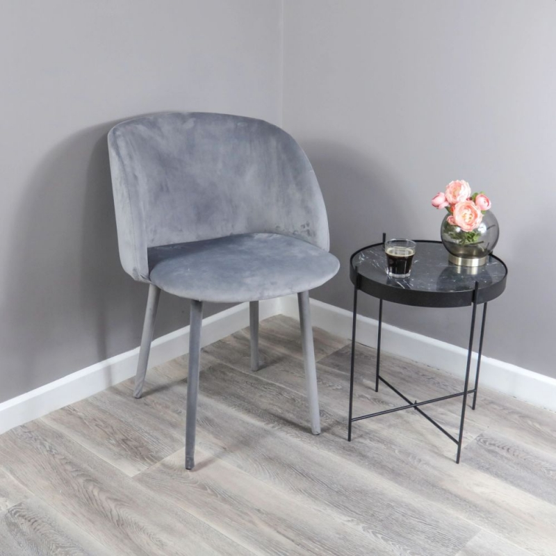 Soft Grey Velvet Dining Chair (Set of 2)
