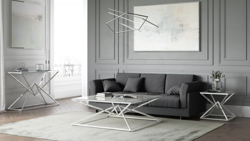 Prism Glass and Chrome Coffee Table