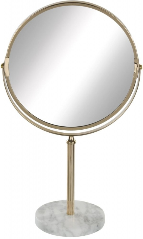 Gold Metal and Marble Round Dressing Mirror - 11cm x 36cm