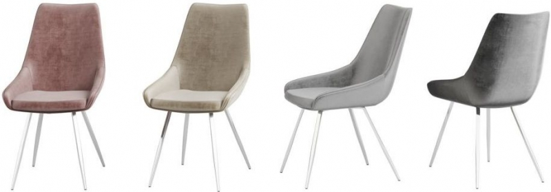 Lanna Mink Velvet and Chrome Dining Chair (Pair)
