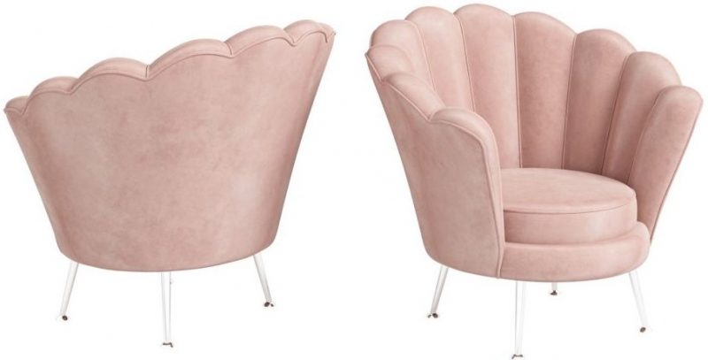 Erica Pink Velvet and Chrome Lounge Chair
