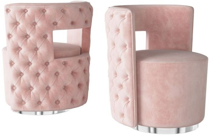 Tamara Pink Velvet and Chrome Lounge Chair