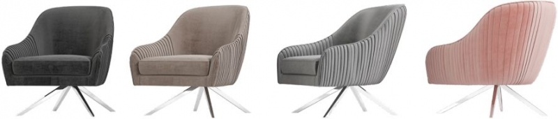 Bianca Silver Grey Velvet and Chrome Lounge Chair