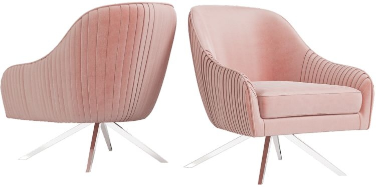 Bianca Pink Velvet and Chrome Lounge Chair