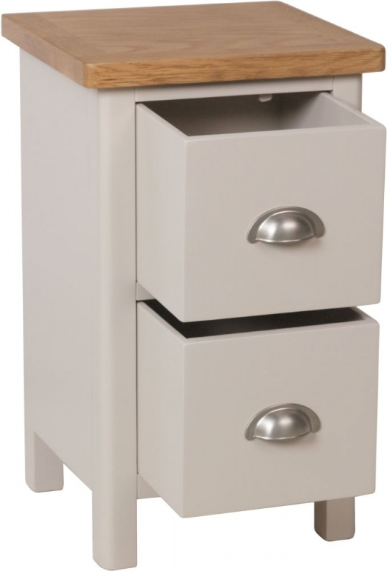 Clearance Half Price - Portland Oak and Dove Grey Painted 2 Drawer Bedside Cabinet - New - 4097