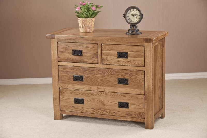 Clearance Half Price - Rustic Oak 2+2 Drawer Chest - New - 4051