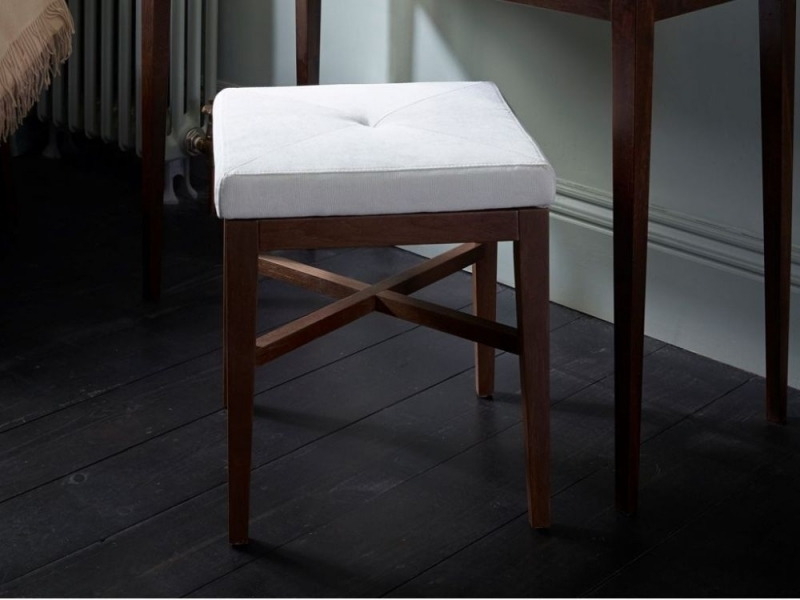 Clearance Half Price - Stratford Off White and Walnut Upholstered Stool - New - 4069