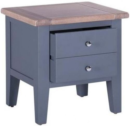Clearance Half Price - Chalked Oak and Downpipe 1 Drawer Lamp Table - New - 4070