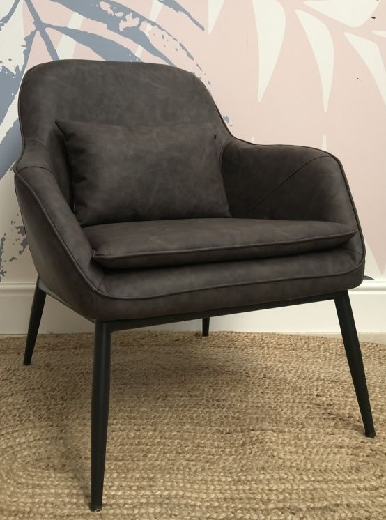 Ancient Mariner Fitzroy Grey Faux Leather Low Armchair