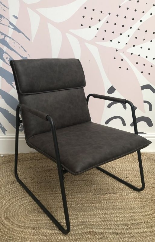 Ancient Mariner Fitzroy Grey Faux Leather and Metal Armchair