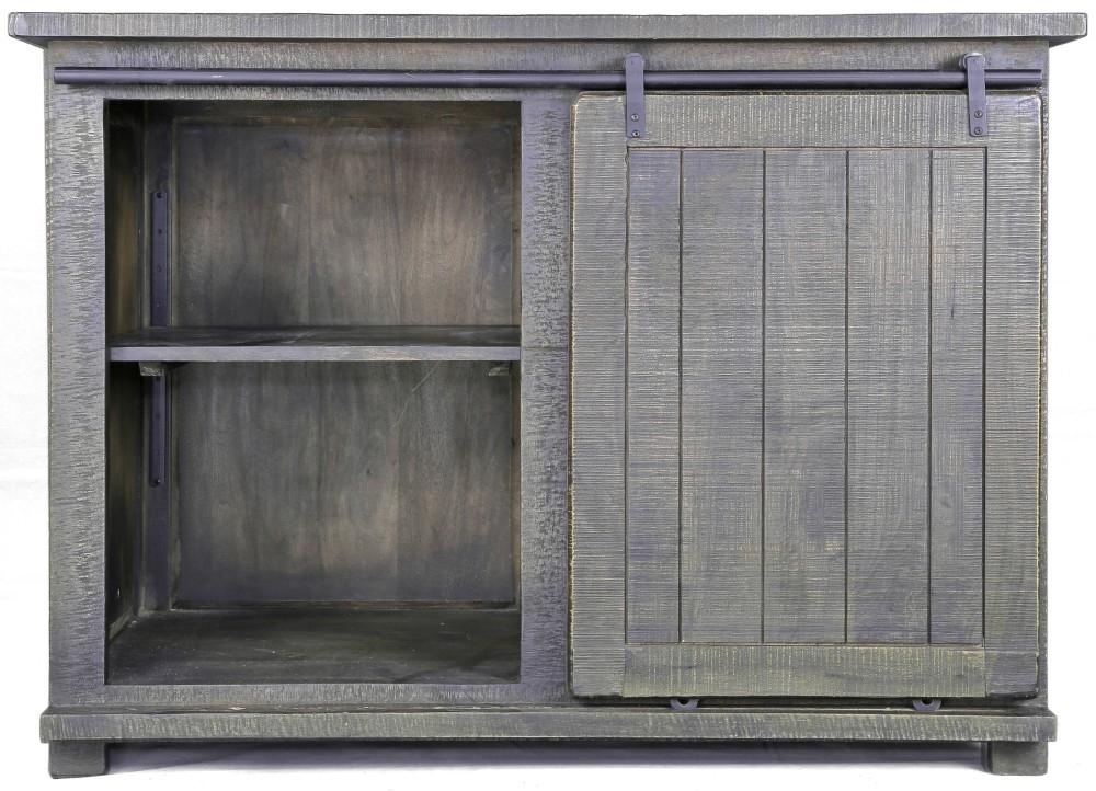 Urban Deco Shabby Chic Dark Distressed 1 Door Sideboard with Wine Rack