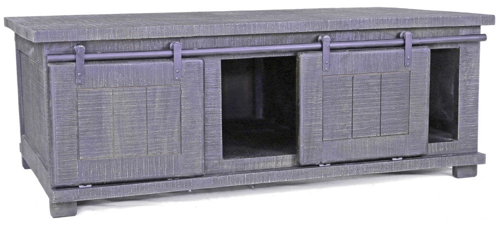 Urban Deco Shabby Chic Dark Distressed 2 Door Coffee Table