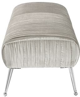 Serene Aaliyah Grey Velvet Fabric Bench