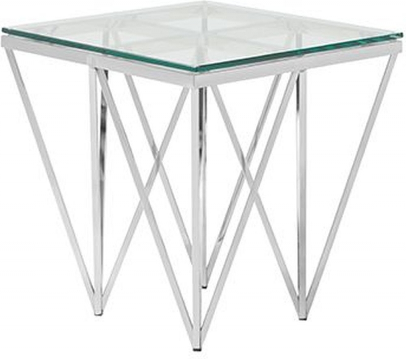 Serene Star Glass and Silver Square Lamp Table
