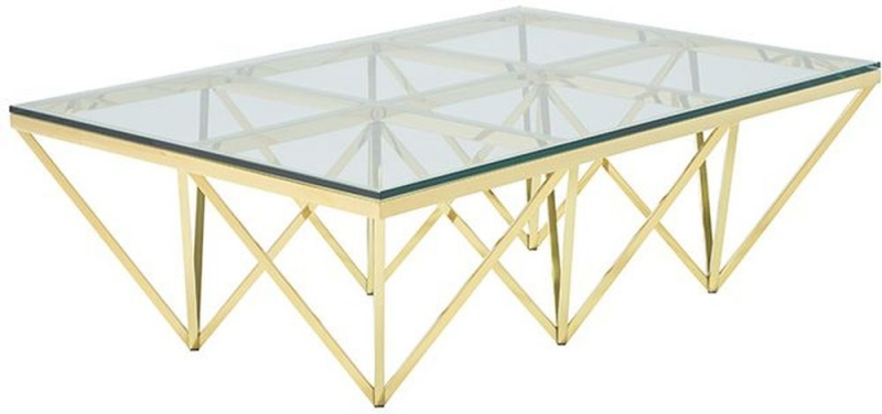 Serene Star Glass and Gold Rectangular Coffee Table