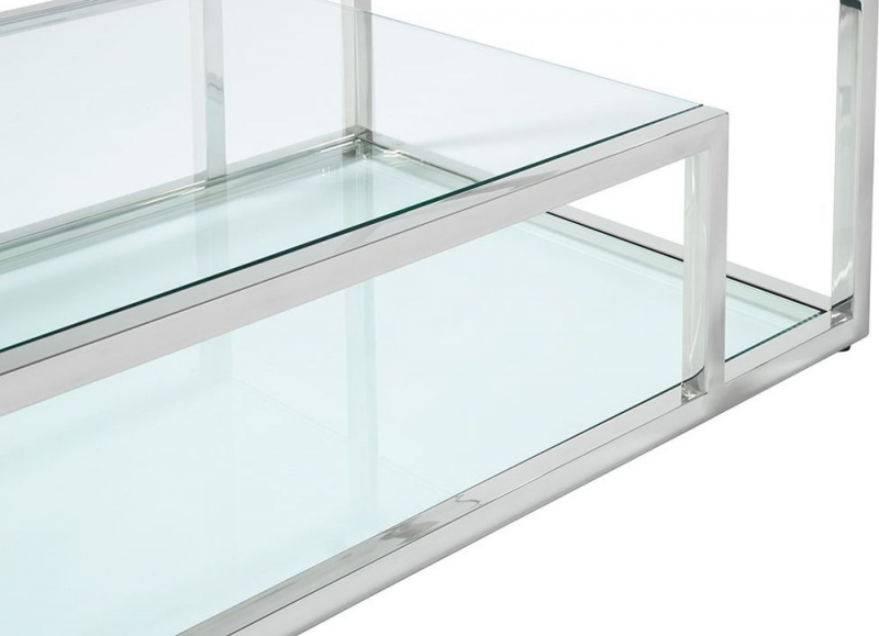 Serene Lucia Glass and Silver Coffee Table